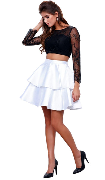 Quarter Sleeve Laced Two-Piece Cocktail Dress
