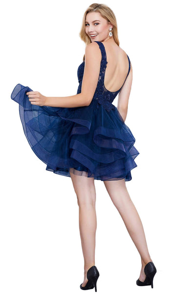 Ruffled V-neck A-line Dress