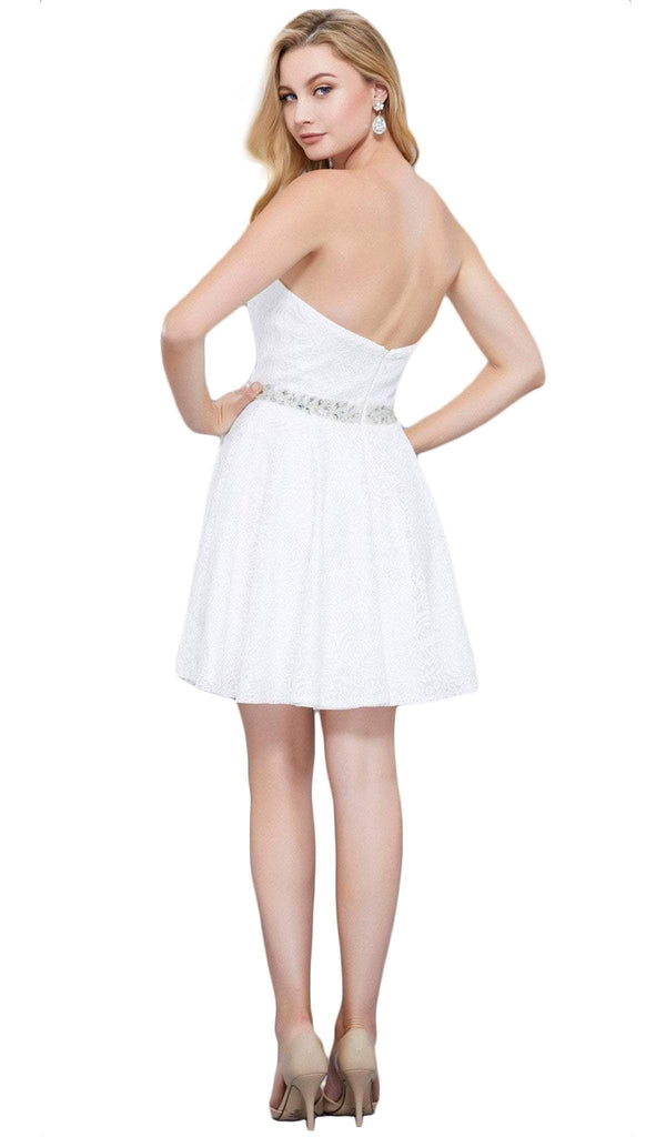Nox Anabel - 6358 Embellished Waist Sweetheart Neckline Cocktail Dress