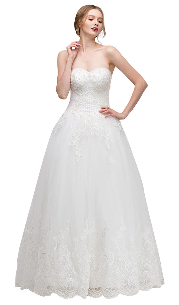 Strapless Beaded Lace Bodice Bridal Evening Gown – ADASA