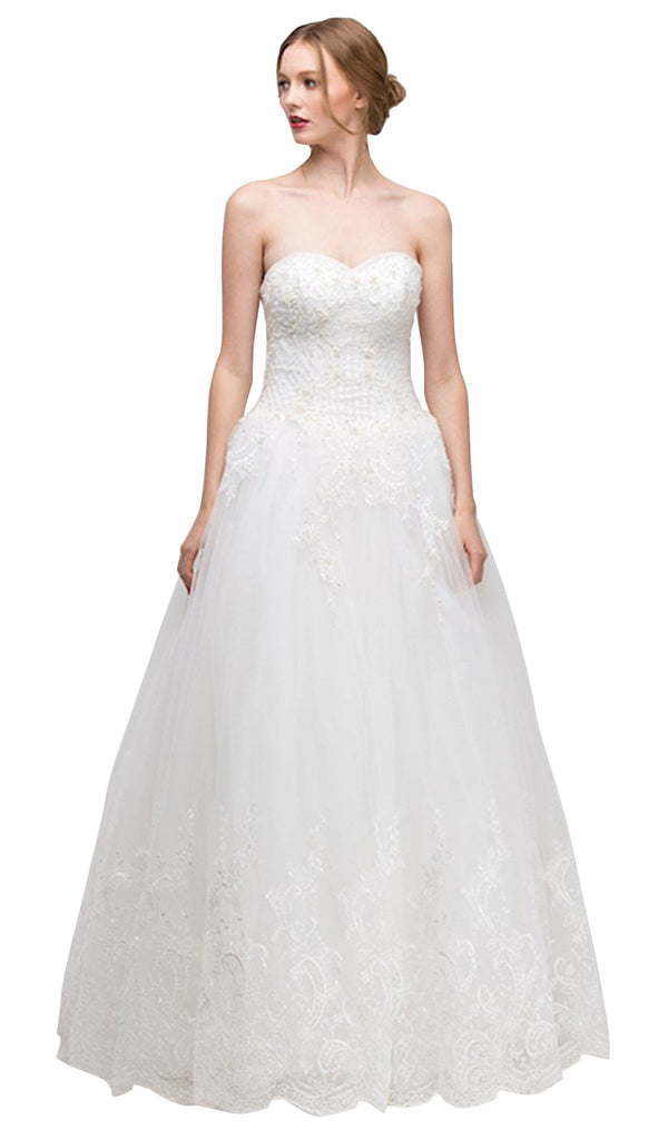 Strapless Beaded Lace Bodice Bridal Evening Gown