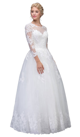Lace Long Sleeve Wedding Evening Gown