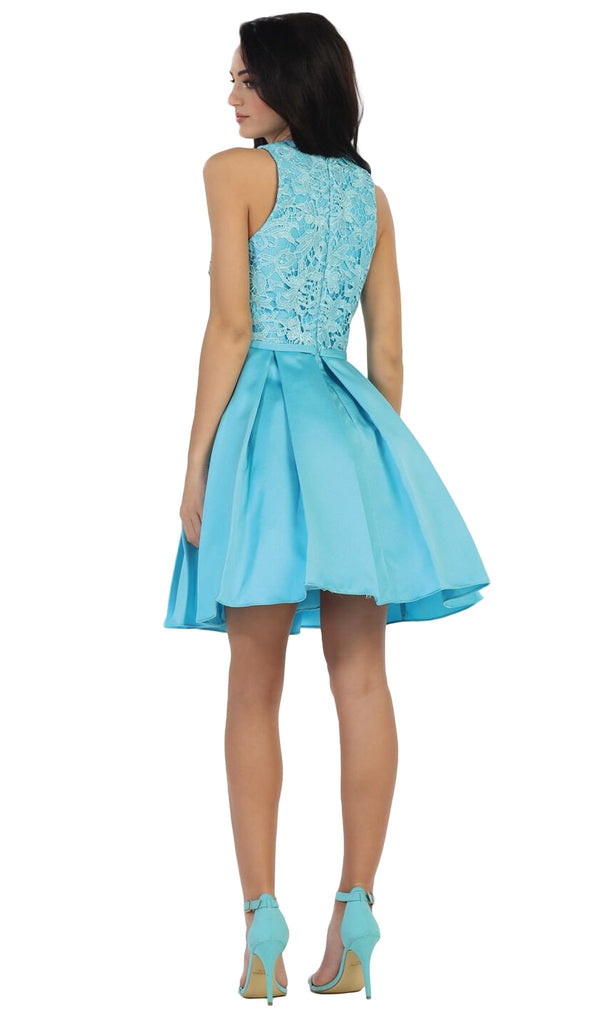 Lace Jewel A-line Cocktail Dress