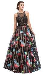 Finely Jeweled Illusion A-Line Long Formal Dress