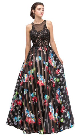 Lace Stripe Floral Evening Gown