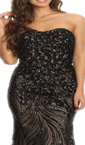 Strapless Sequined Semi-Sweetheart Sheath Evening Dress