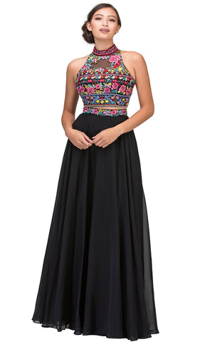 Two Piece Floral Embroidered Chiffon A-line Evening Dress
