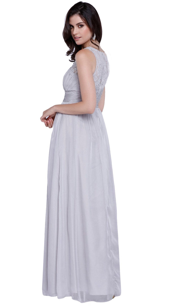 Sleeveless Lace and Chiffon A-Line Evening Dress