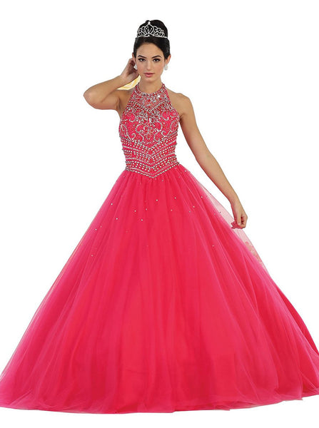 Jewel-Encrusted Halter Neck Ball Gown