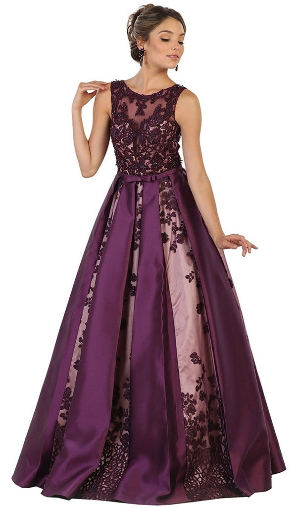 Embroidered Sleeveless Mesh Satin Evening Gown