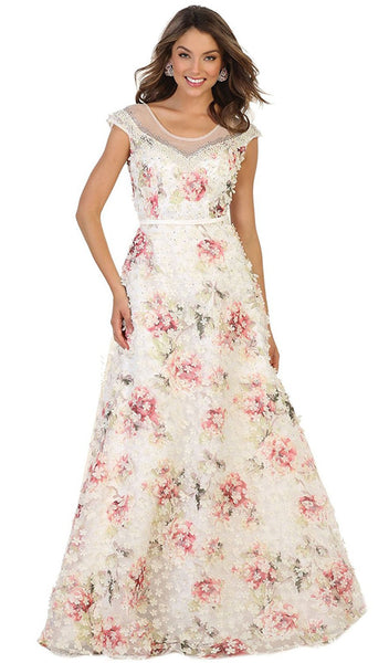 Cap Sleeve Floral Embellished A-line Evening Gown - ADASA