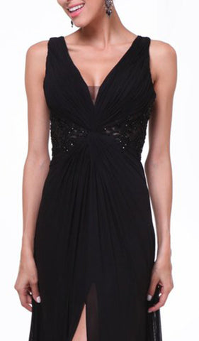 Bedazzled Plunging V-neck A-line Dress - ADASA