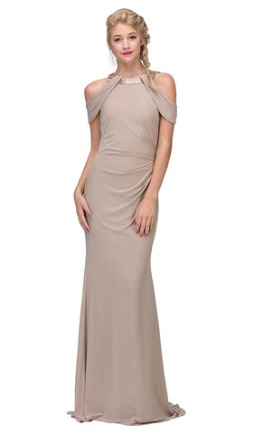 Embellished Jewel Neck Satin Sheath Evening Dress