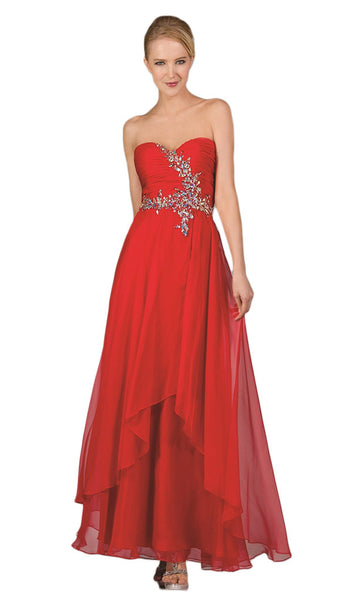 Strapless Pleated Jeweled Sweetheart A-line Dress