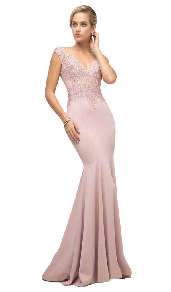 Lace Bodice Stretch Knit Sheath Long Dress  Nude and Pink