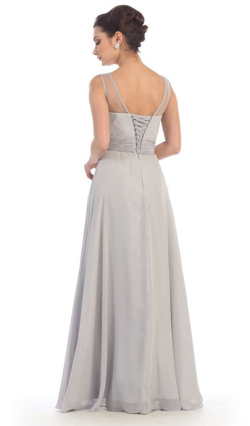 Laced-Up Illusion Neck A-Line Prom Dress