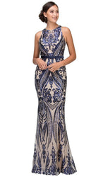 Bejeweled Illusion Inset Plunging V-Neck Evening Gown