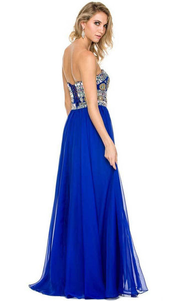 Nox Anabel - 8153 Strapless Bejeweled Bodice Long Evening Dress