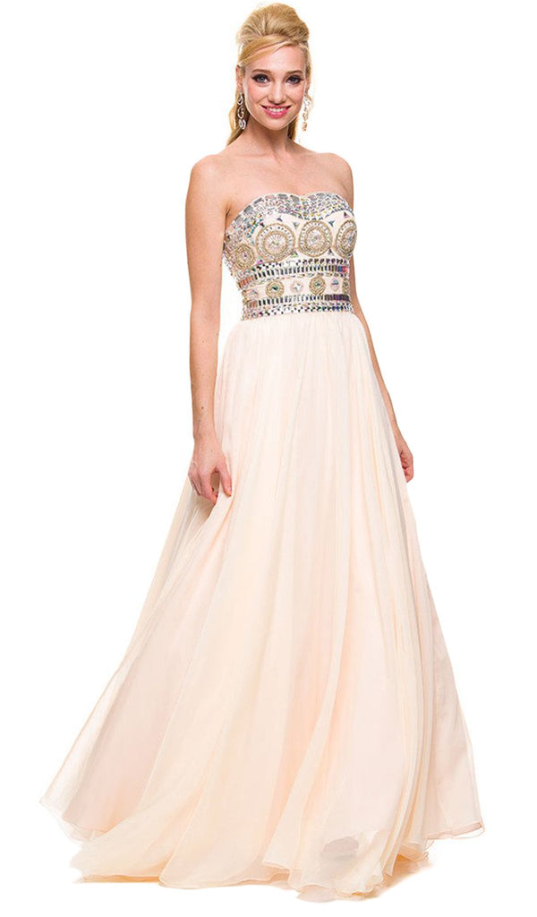 Strapless Bejeweled Bodice Long Evening Dress