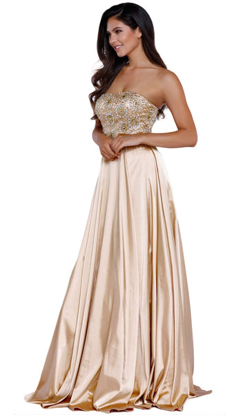 Metallic Embellished Strapless Long Evening Gown