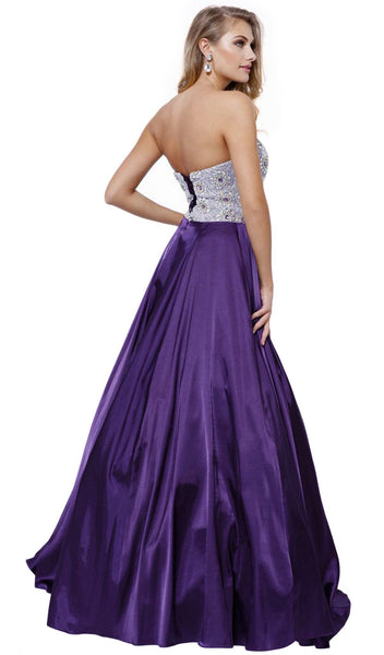 Nox Anabel - 8186 Metallic Embellished Strapless Long Evening Gown