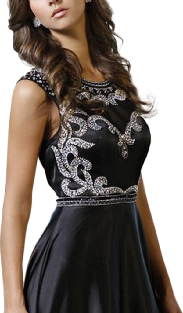 Bedazzled Illusion Jewel A-line Dress - ADASA