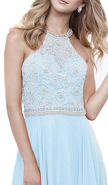 Nox Anabel - 8295 Beaded Illusion Halter A-line Dress