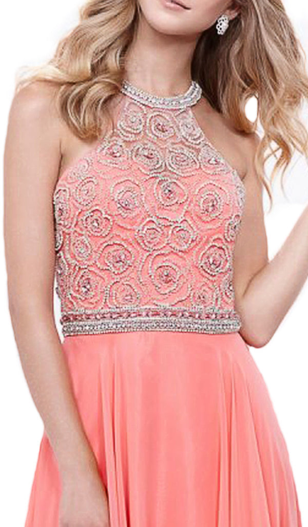 Beaded Illusion Halter A-line Dress - ADASA