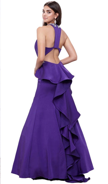 Nox Anabel - 8315 Embellished V-neck Satin Mermaid Dress