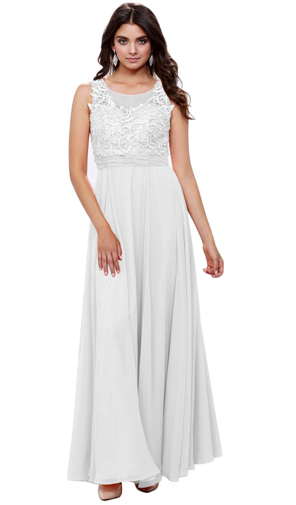 Illusion Applique Ornate Gown