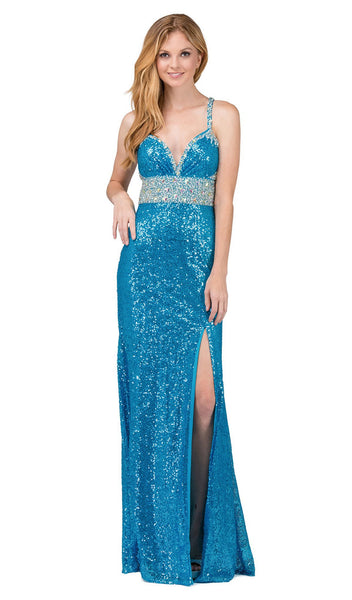 Sequined Crisscrossed Back Sheath Prom Gown