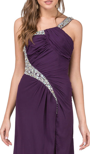 Asymmetrical Jeweled High Slit Prom Gown - ADASA