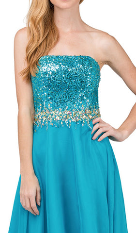 Strapless Sequined High Low A-line Prom Dress