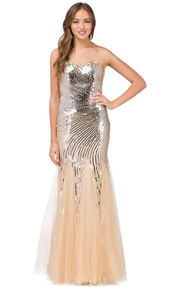 Strapless Jeweled Metallic Prom Gown