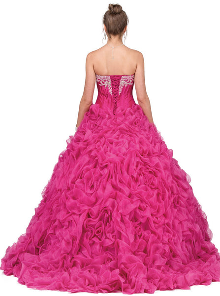 Strapless Embellished Sweetheart Ruffled Quinceañera Ballgown