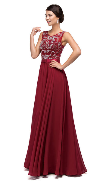 Jewel Detailed Illusion A-Line Long Dress