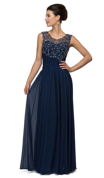 Asymmetrically Ruched Illusion A-Line Prom Dress - ADASA