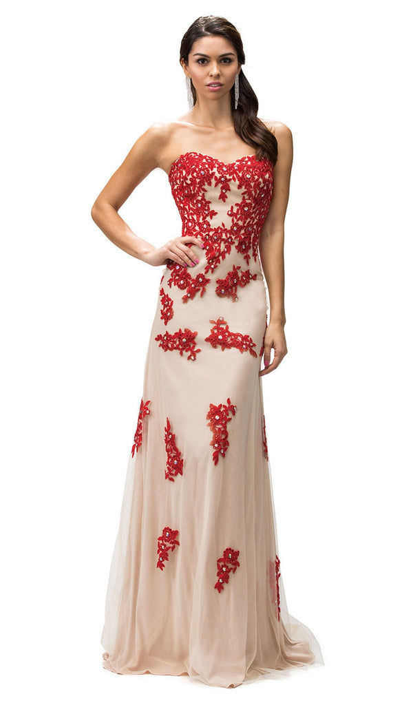 Strapless Sweetheart Floral Appliqued Prom Dress