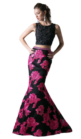 Embellished Two Piece Floral Mermaid Evening Gown