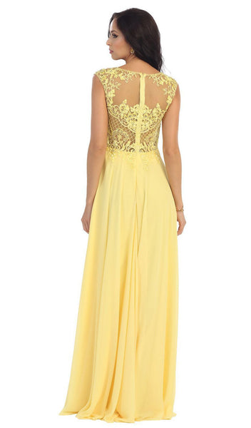 Embellished Illusion Bateau A-line Prom Dress