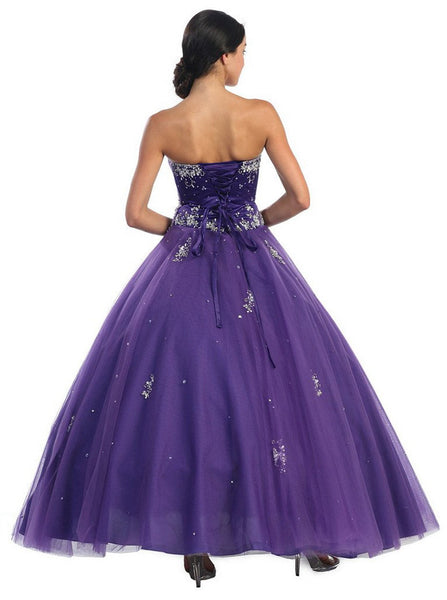 Floral Jeweled Sweetheart Formal Ballgown