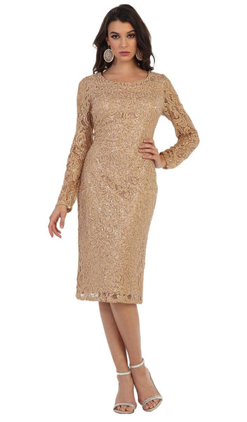 Sequined Jewel Sheath Cocktail Dress