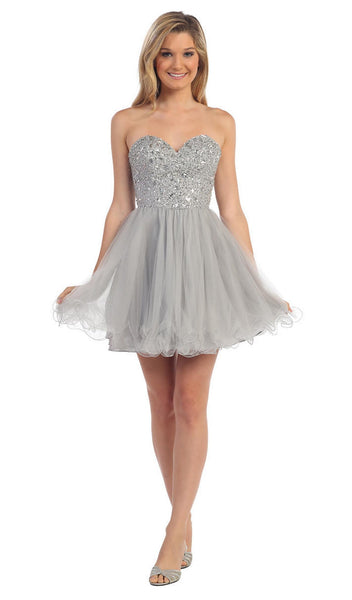 Crystal Sprinkled Strapless Cocktail Dress - ADASA