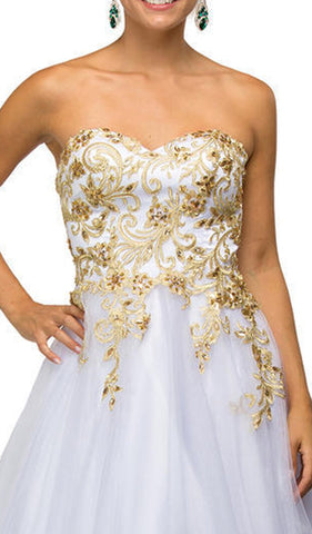 Gilded Strapless Evening Ballgown