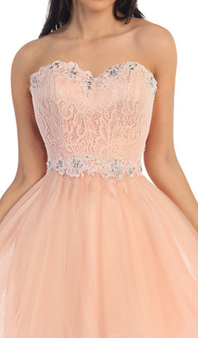 Strapless Appliqued Lace Bodice Cocktail Dress