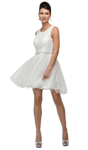 Rosette Textured Lace Bodice Cocktail Dress