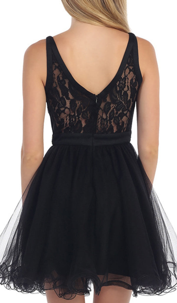 Sleeveless Lace Illusion Cocktail Dress
