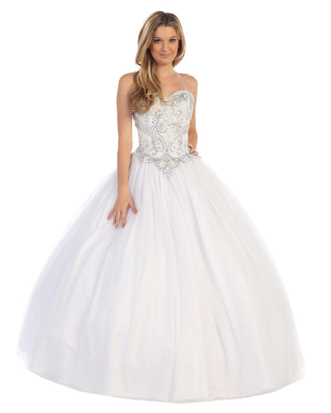 Metallic Embroidered Strapless Formal Ball Gown
