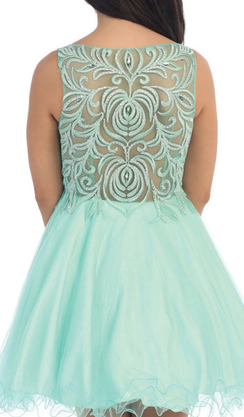 Embroidered Bodice Baby Doll Prom Dress