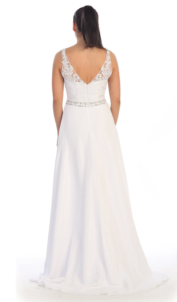 V-neck Lace Evening Gown